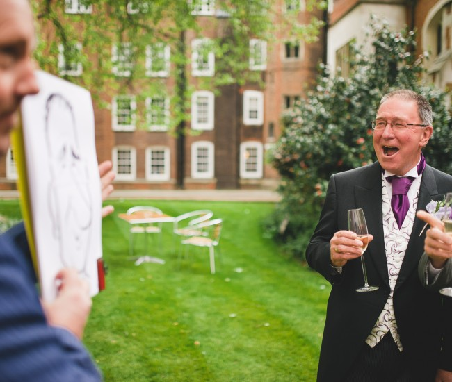father of bride laughs