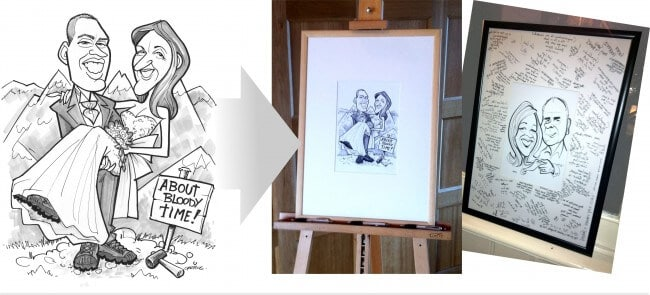caricature signing boards
