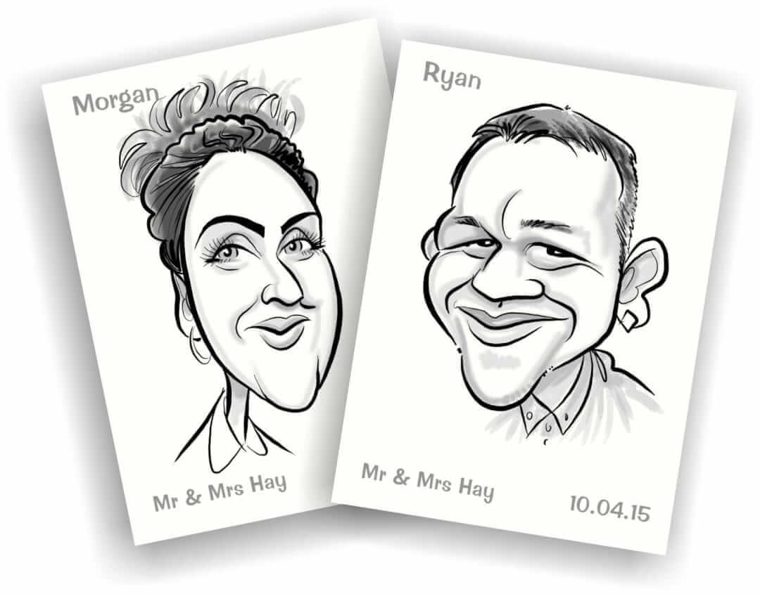 CARICATURE WEDDING PLACE CARDS FROM PHOTOS