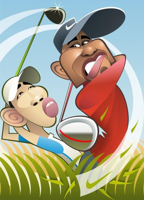 Tiger Woods caricature in GQ now